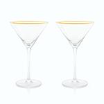 Viski Belmont Gold & Crystal Martini Glasses   James Anthony Collection