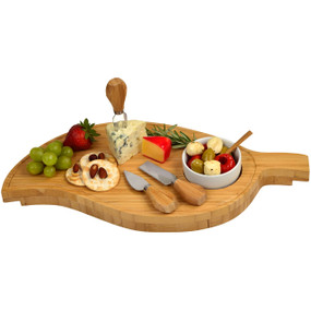 Bamboo Leaf Cheese Board Set with 3 Tools & Olive Motif Ceramic Bowl