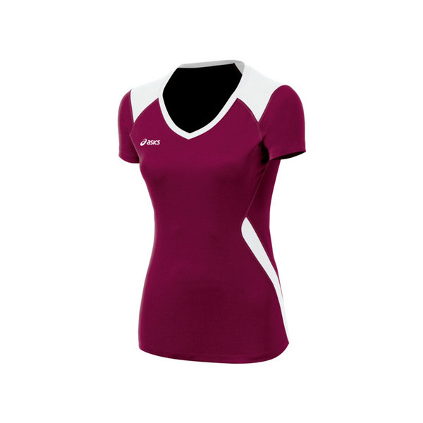 Asics Women's Set Jersey - Maroon/White