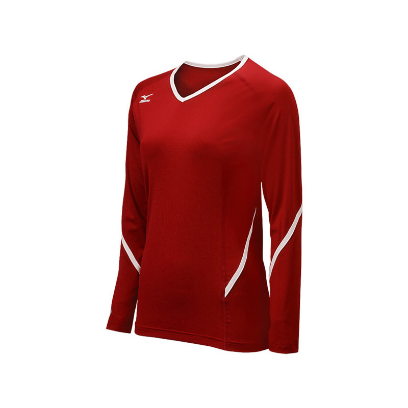 Mizuno Youth Techno Generation Long Sleeve Jersey - Red/White