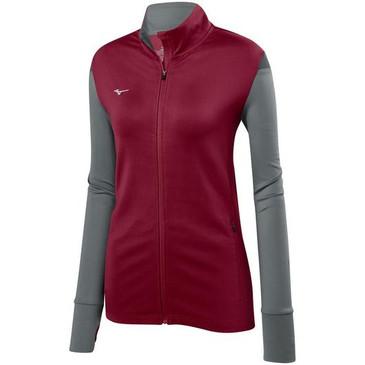 Mizuno Women's Horizon Full Zip Jacket - Cardinal/Grey/Charcoal