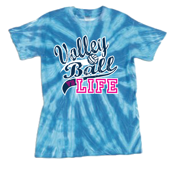 Volleyball Life Tye Dye T-Shirt - Blue