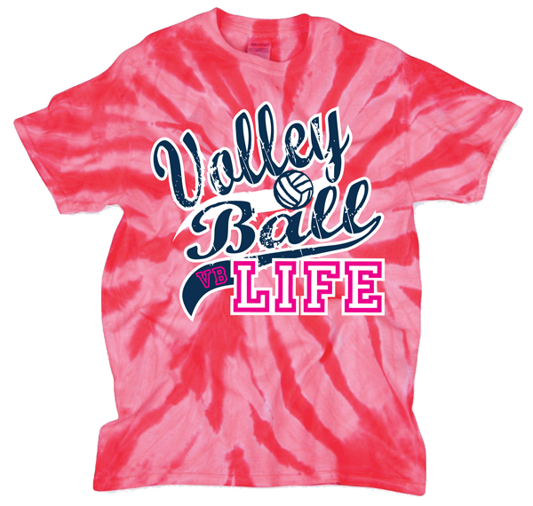 Volleyball Life Tye Dye T-Shirt - Pink