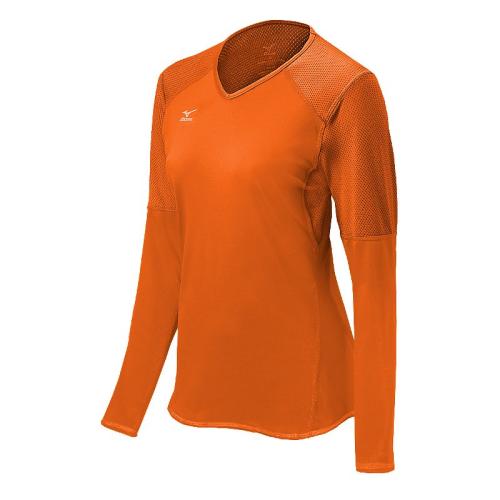 Mizuno Women's Techno Volley VI LS Jersey- Blazing Orange