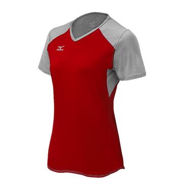 Mizuno Women's Techno Volley VI SS Jersey- Red/Silver