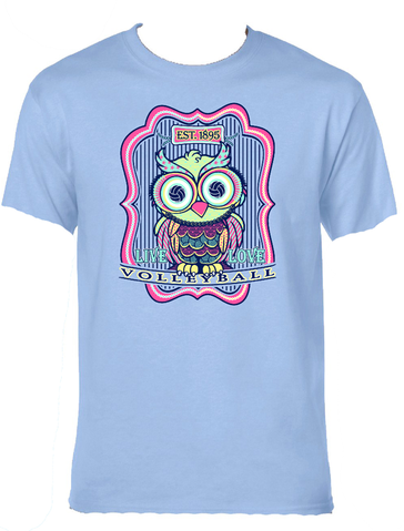 Volleyball Owl- Light Blue