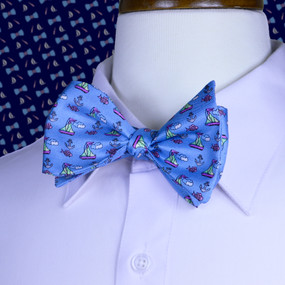 Sailboats & Fish Bow Tie - Light Blue