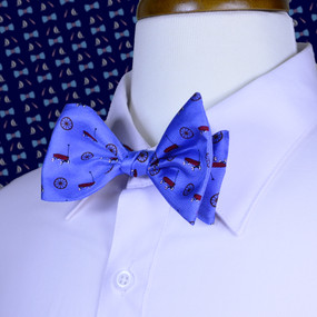 Wagon Wheel Bow Tie - Blue