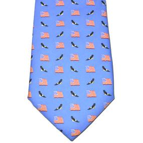 American Flags & Eagles Tie - Blue