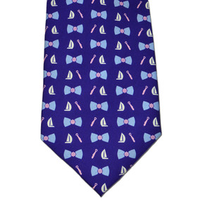 Classic Boat Tie Print Tie - Navy Blue