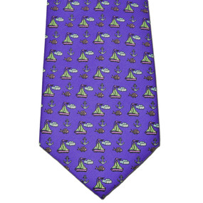 Sailboats & Fish Tie - Purple