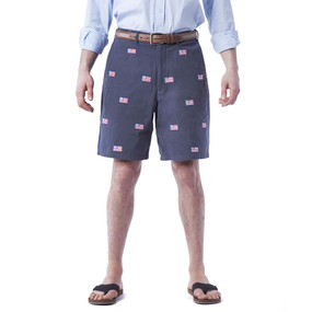 Cisco Embroidered Shorts with American Flags - Navy