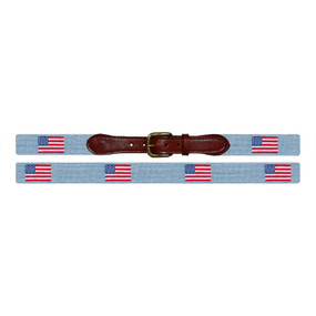 Smathers and Branson American Flag Needlepoint Belt - Light (Antique) Blue