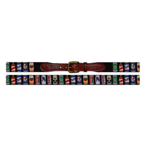 Smathers and Branson Beer Cans Needlepoint Belt - Black