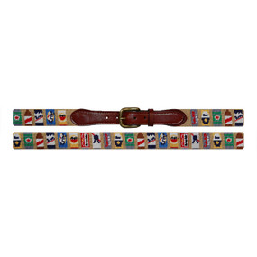 Smathers and Branson Beer Cans Needlepoint Belt - Khaki