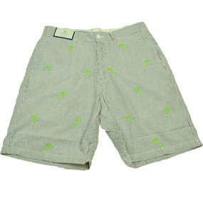 Cisco Embroidered Seersucker Shorts with Palm Trees - Navy