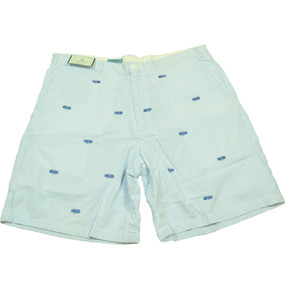 Cisco Embroidered Seersucker Shorts with Bonefish - Blue