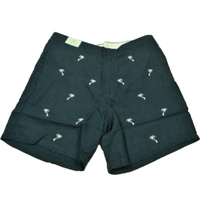 Castaway Clothing Embroidered Linen Shorts with Palm Trees - Navy