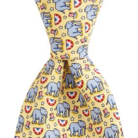 Vineyard Vines Political Republican Elephant Neck Tie - Yellow