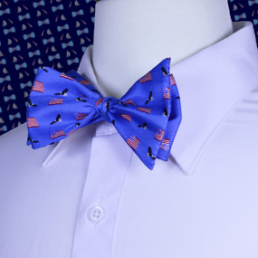 American Flags & Eagles Bow Tie - Blue