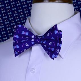 Classic Boat Tie Print Bow Tie - Navy Blue