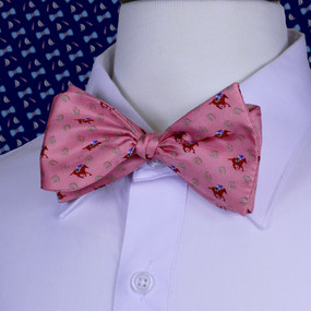 Horses & Horseshoes Bow Tie - Salmon