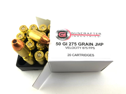.50GI 275gr Jacketed Hollow Point Ammuntion, made in Huntsville, Arkansas