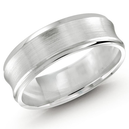 Mens 7 MM all white gold concave satin finish band - #JM-095-7WG
