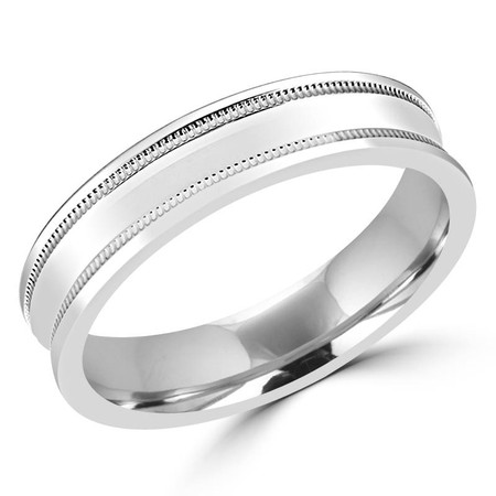 5.0 MM Polished Concave Mens Comfort Fit Wedding Band Ring in White Gold - #M0246-MAL-J119-520G-W