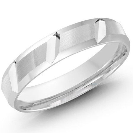 4 MM all white gold diagonal cut satin finish band - #JM-646-4WL