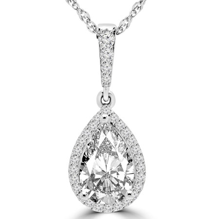 Pear Cut Diamond Multi-Stone Antique Vintage 3-Prong Pendant Necklace With Round Accents and Chain in White Gold - #MD-P-P1-W
