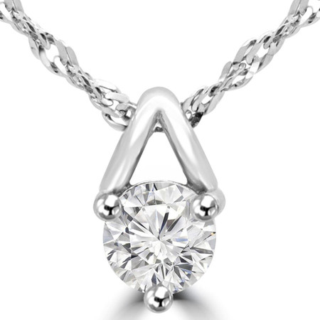 Round Cut Diamond Solitaire 3-Prong Pendant Necklace With Chain in White Gold - #MAJESTY-P3-W