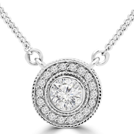 Round Cut Diamond Multi-Stone Halo Necklace With Chain in White Gold - #MAJESTY-P4