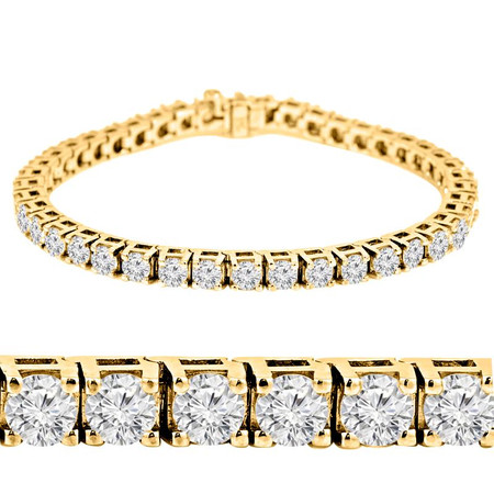 Round Cut Diamond 4-Prong Classic Tennis Bracelet in Yellow Gold - #B424-Y