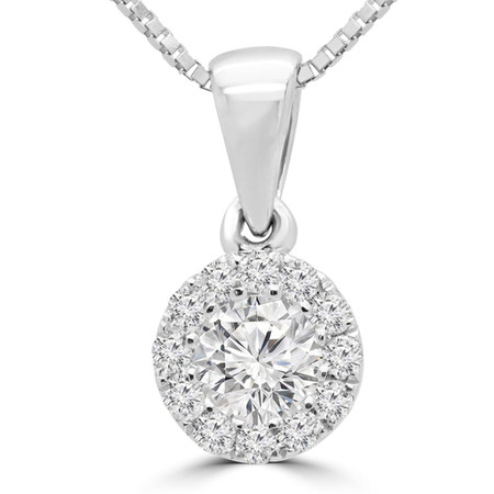 Round Cut Diamond Solitaire Halo Pendant Necklace With Chain in White Gold - #SKP3125-18-W
