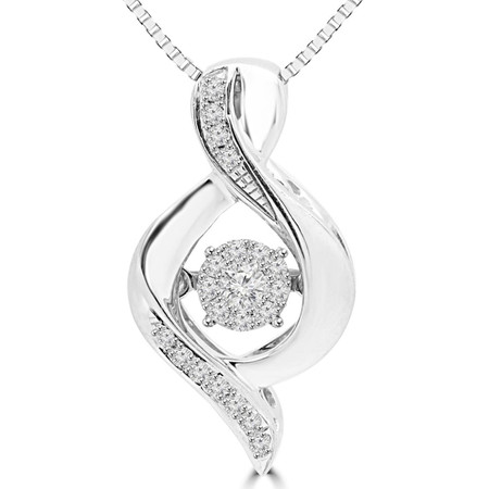 Round Cut Dancing Diamond Accent Infinity Pendant Necklace With Chain in White Gold - #SKP15322-10-W