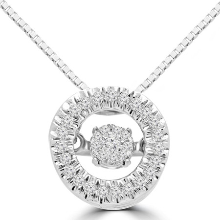 Round Cut Dancing Diamond Halo Pendant Necklace With Chain in White Gold - #SKP15336-10-W