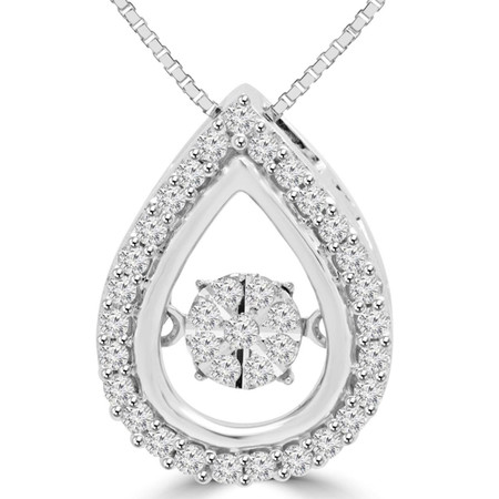 Round Cut Dancing Diamond Teardrop Pendant Necklace With Chain in White Gold - #SKP15761-20-W