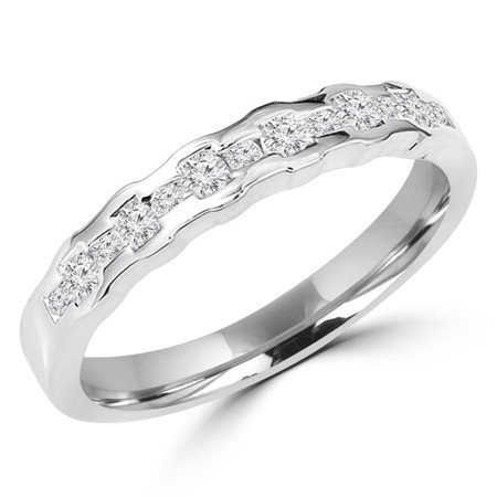 Round Cut Diamond Multi-Stone Channel-Set Wedding Band Ring in White Gold - #HR4779-W