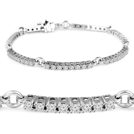 Round Cut Diamond 4-Prong 3-Row Tennis Bracelet in White Gold - #B2260-W