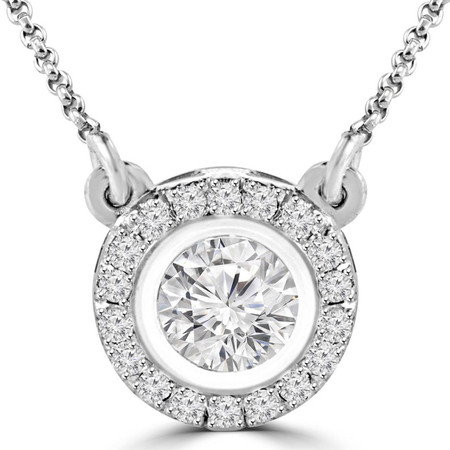 Round Diamond Multi-Stone Bezel-Set Halo Pendant Necklace with Round Diamond Accents & Chain in White Gold - #LISA-W
