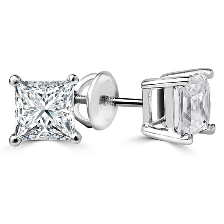 Princess Cut Diamond Solitaire 4-Prong Stud Earrings with Screwbacks in White Gold - #S415-W