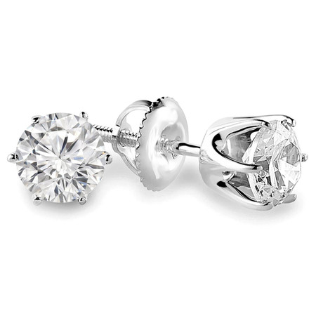 Round Cut Diamond Solitaire 6-Prong Stud Earrings with Screwbacks in White Gold - #G4D6-W