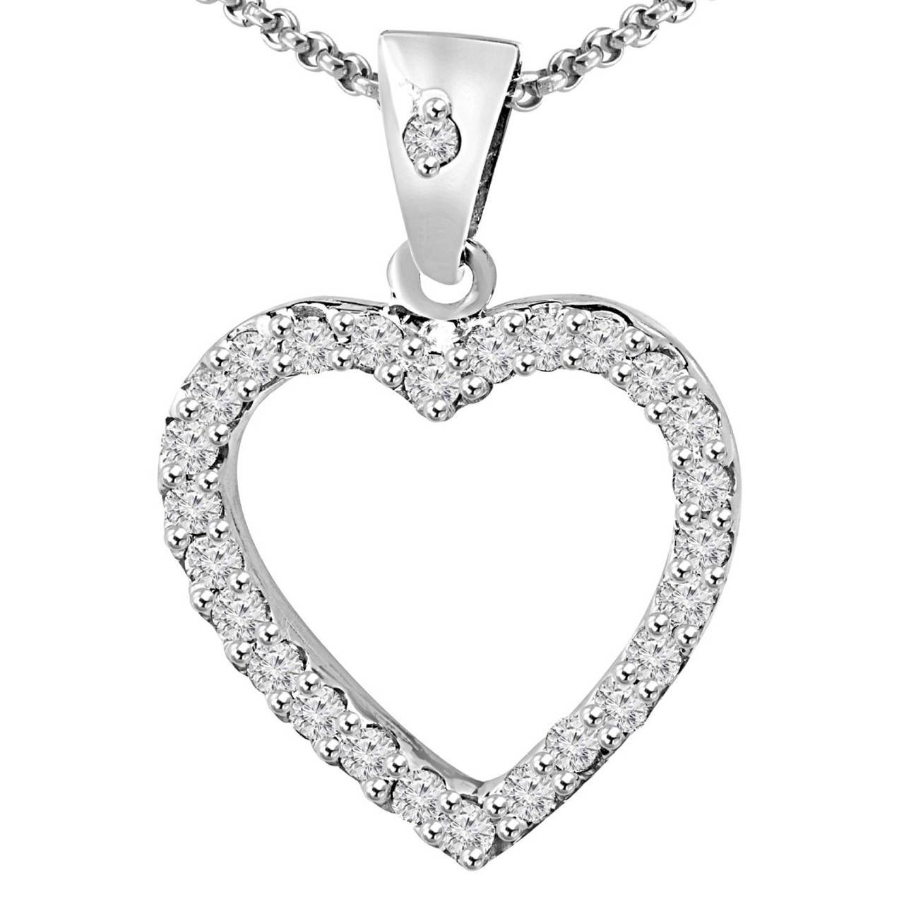 Heart shaped necklace bijoux majesty round cut diamond multi stone shared prong heart shape pendant necklace with chain in white gold md p heart r w aloadofball Image collections