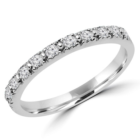 Round Cut Diamond Multi-Stone Shared-Prong Wedding Band Ring in White Gold - #NOVOBAND-W