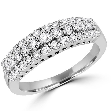 Round Cut Diamond Multi-Stone Three-Row Shared-Prong Wedding Band Ring in White Gold - #ESFH238