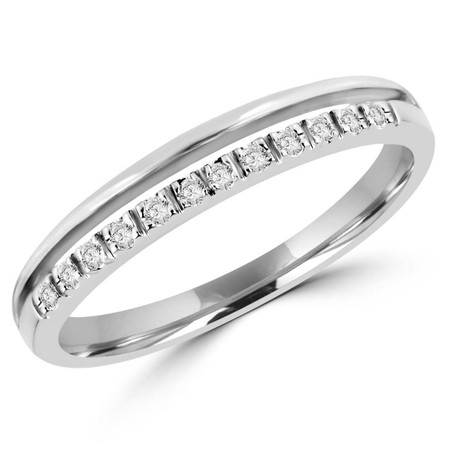 Round Cut Diamond 4-Prong Semi-Eternity Wedding Band Ring in White Gold - #CNFX60