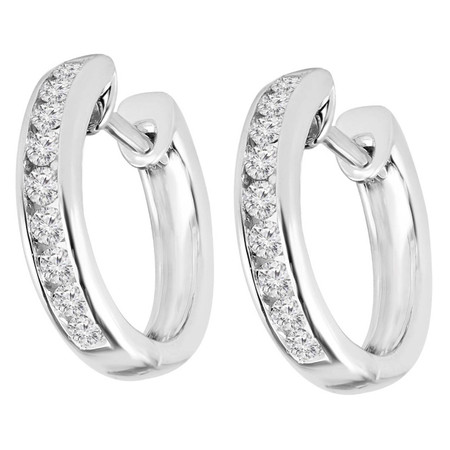 Round Cut Diamond Multi-Stone Huggie Hoop Channel-Set Earrings in White Gold - #HDE2622-W