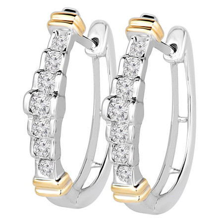 Round Cut Diamond Multi-Stone Huggie Hoop Bar-Set Earrings in Two-tone Gold - #EQ0643