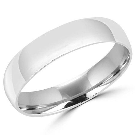 6.0 MM Polished Mens Comfort Fit Wedding Band Ring in White Gold - #J101-520G-W
